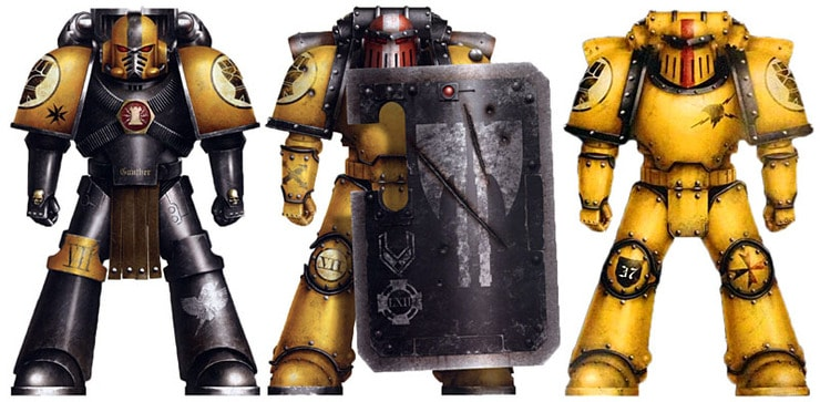 Yellow is the new black playing imperial fists in 30k spikey bits - Imperial fists 40k ...