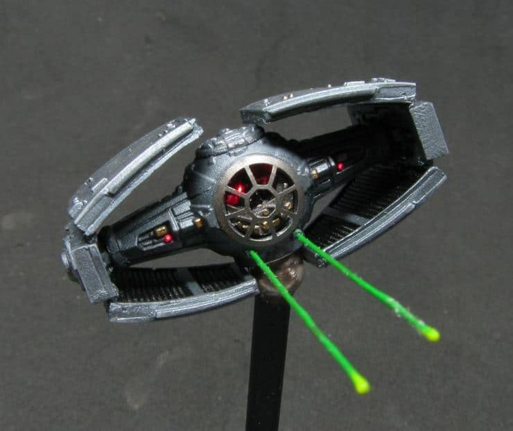 tie fighter with laser blasts x wing mods spikey bits