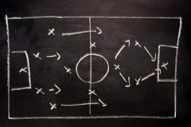 Soccer formation tactics on a blackboard