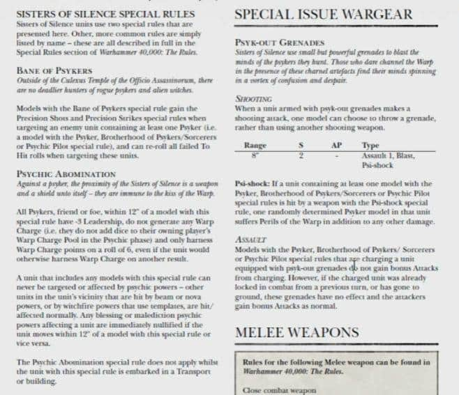 sisters of silence custodes tips tactics