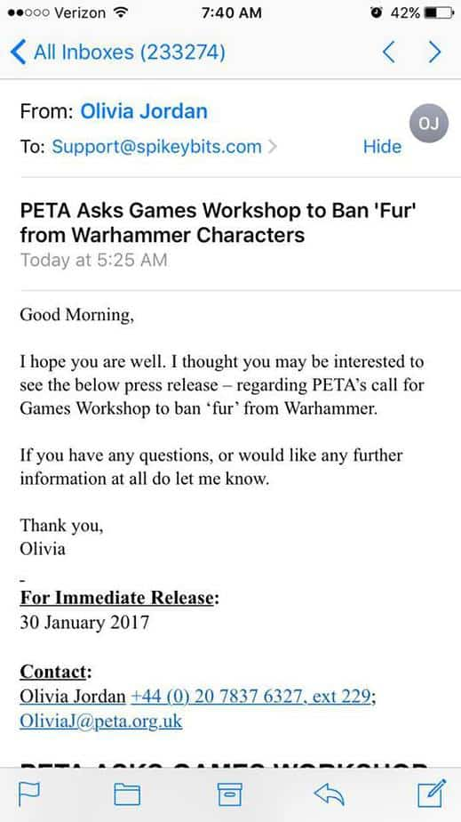 breaking peta s response to games workshop is here spikey bits