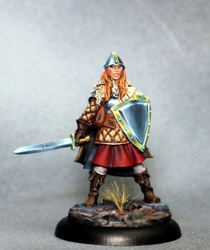FEMALE WARRIOR WITH SWORD AND SHIELD dark sword