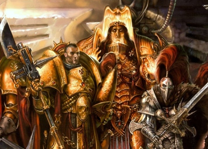 God_Emperor_with_Adeptus_Custodes_and_Slient_Sisters