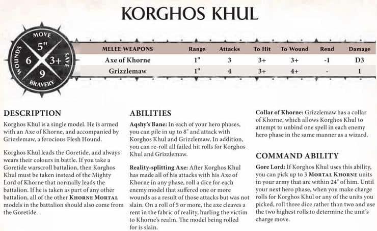 Korghos Khul Warscroll