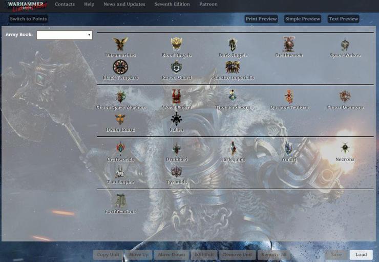 Warhammer 40K Army List Builder - Biosciencenutra