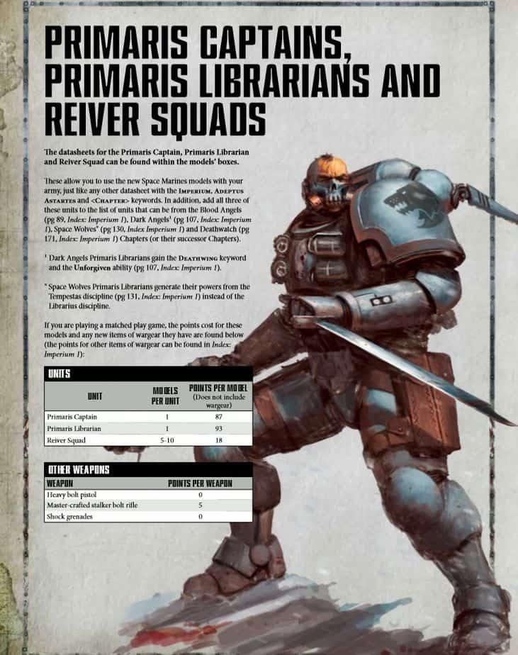 Primaris Captain Librarian Reiver Squads