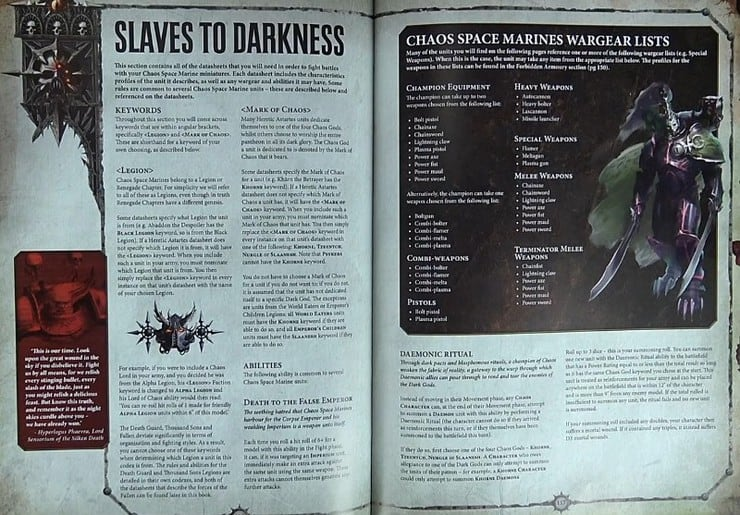 Codex Chaos Slaves to Darkness