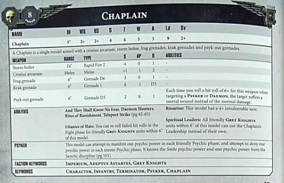 Grey Knights Chaplain datasheet