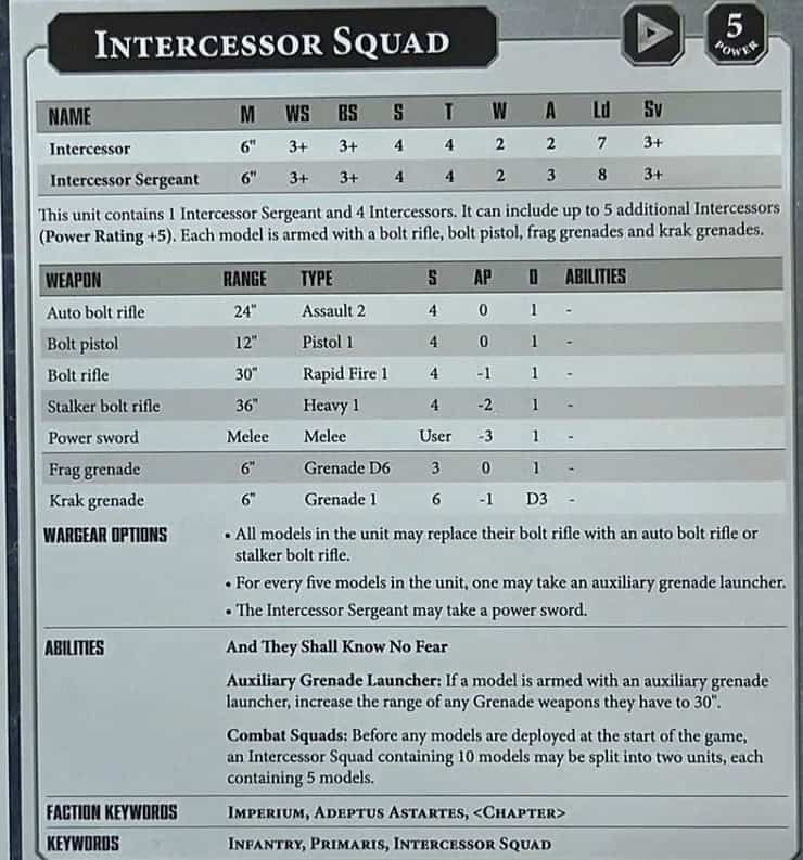 Intercessor datasheet