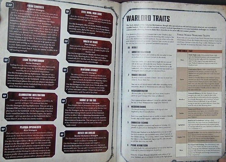 Ad Mech Codex strats and war traits