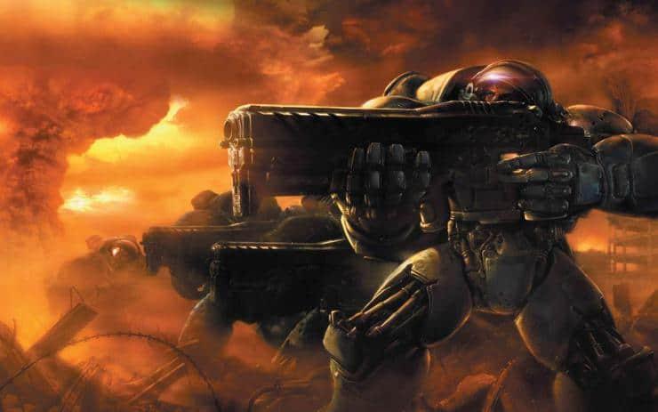starcraft terran marines on the attack