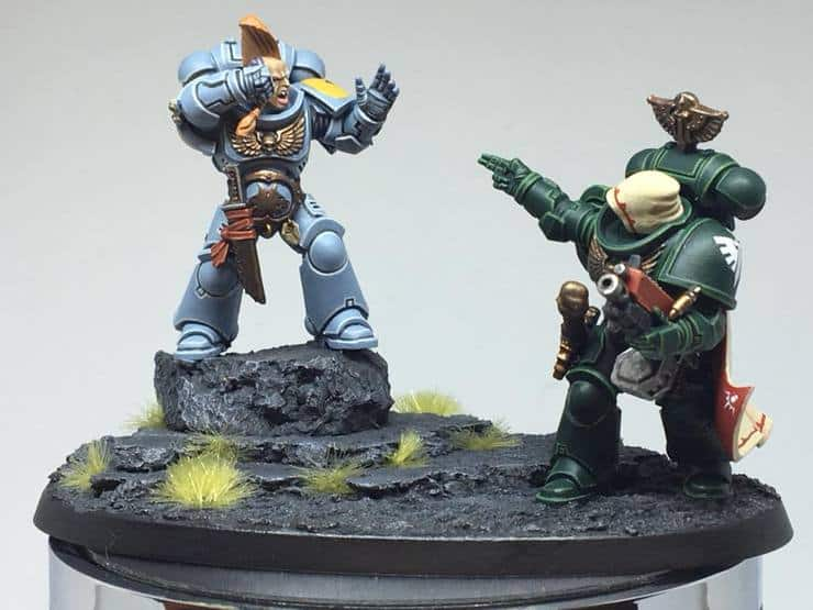 space wolf v dark angel diorama