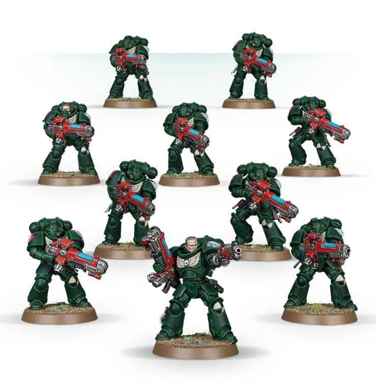 Dark Angels on round base objective markers
