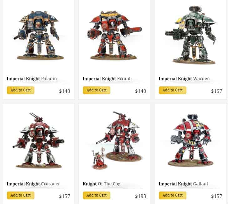 imperial knight lineup