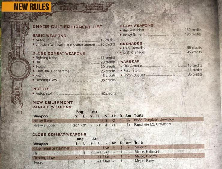 Necromunda Chaos Cultists Weapons