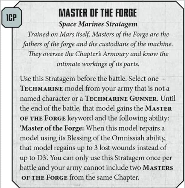 Techamarine master of the forge stratagem
